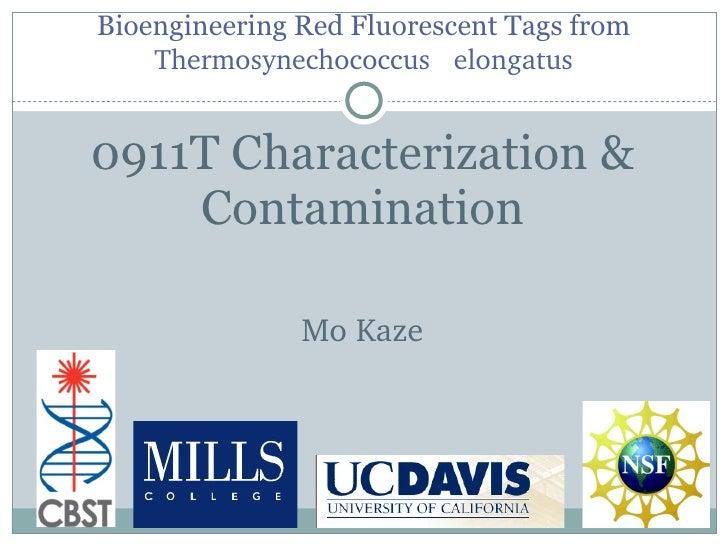 Bioengineering Red Fluorescent Tags from  Thermosynechococcus  elongatus <ul><li>0911T Characterization & Contamination </...