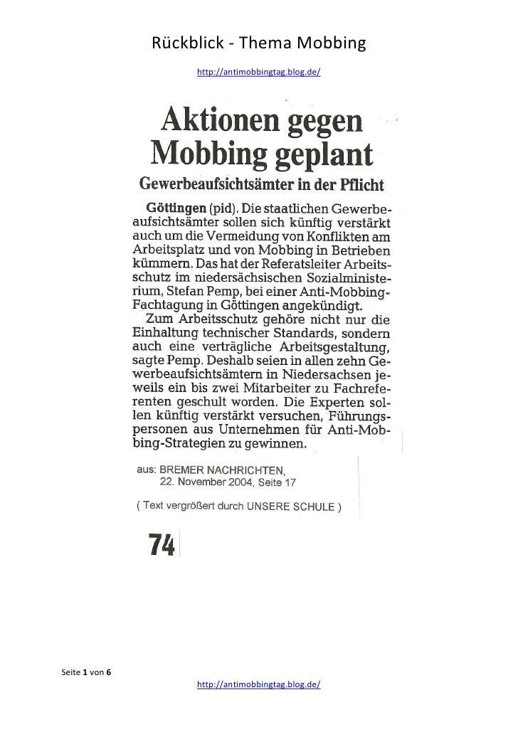 Rückblick - Thema Mobbing                     http://antimobbingtag.blog.de/Seite 1 von 6                     http://antim...