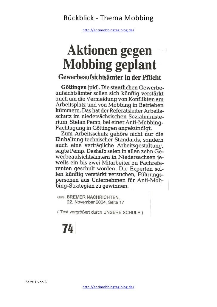 Mobbing Rückblick 2004