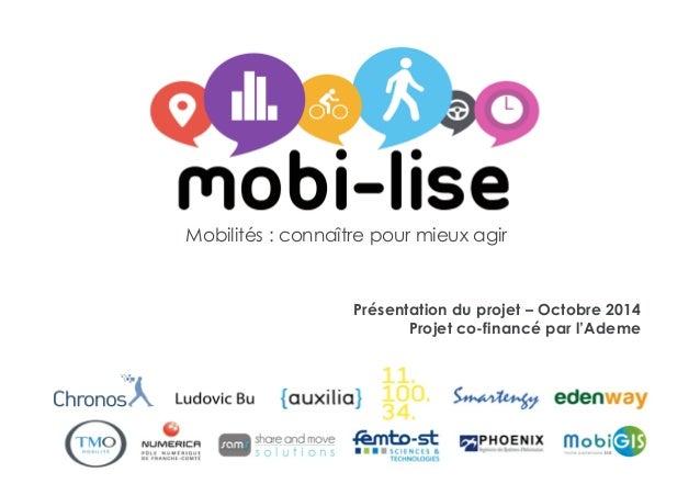 1 Mobilités : connaître pour mieux agir Présentation du projet – Octobre 2014 Projet co-financé par l'Ademe