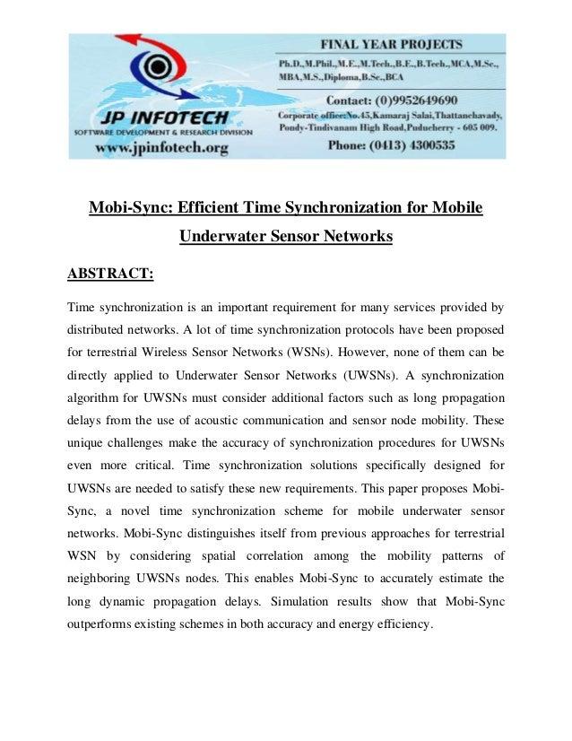 Mobi sync efficient time synchronization for mobile underwater sensor networks
