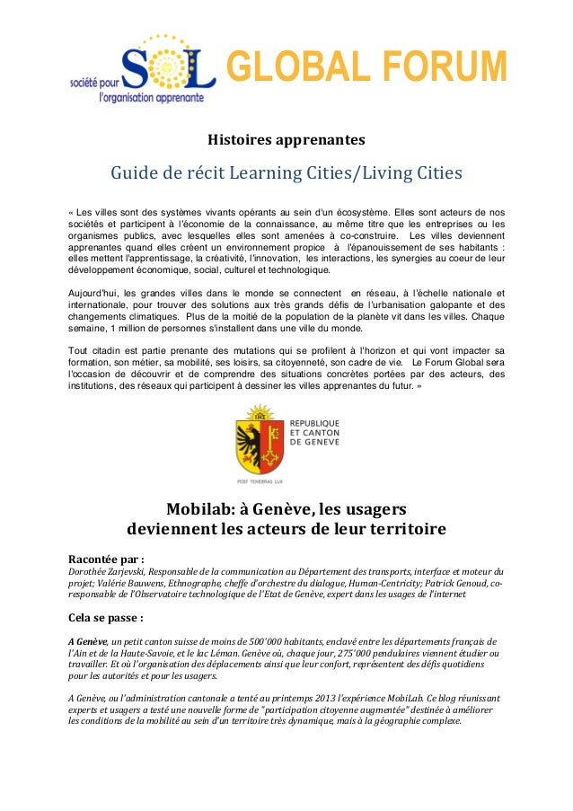 GLOBAL FORUM 	    Histoires	   apprenantes	   	    	    Guide	   de	   récit	   Learning	   Cities/Living	   Cities	   	...