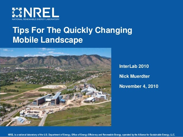 NREL is a national laboratory of the U.S. Department of Energy, Office of Energy Efficiency and Renewable Energy, operated...