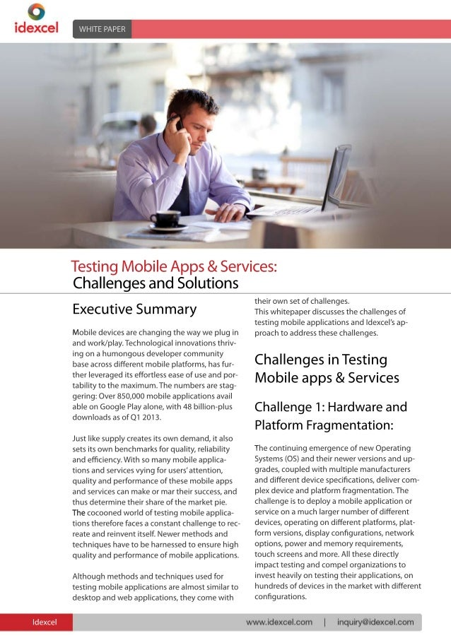Challenges in Testing Mobile Apps & Services | www.idexcel.com