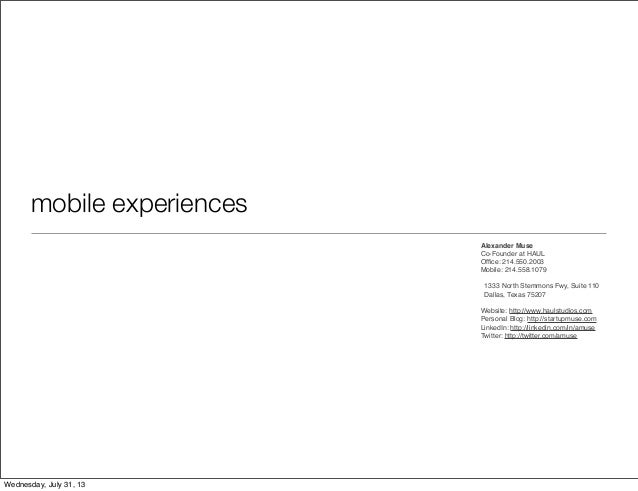 Mobile Experiences