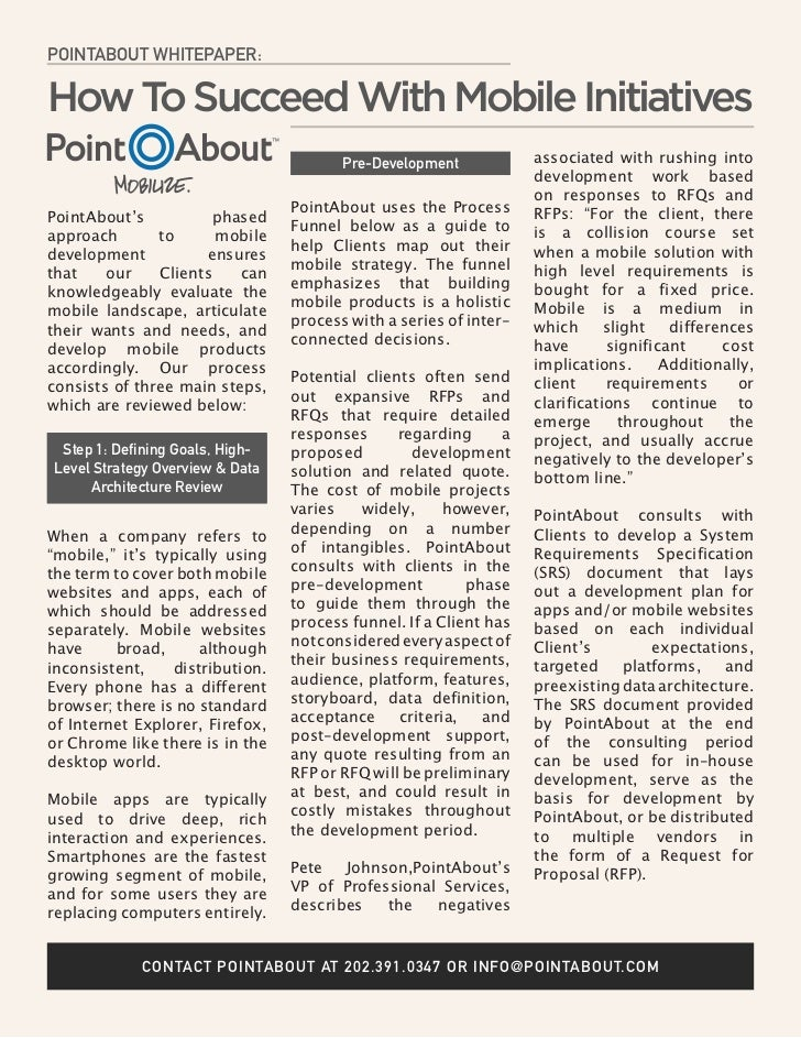 POINTABOUT WHITEPAPER:How To Succeed With Mobile Initiatives                                        Pre-Development       ...
