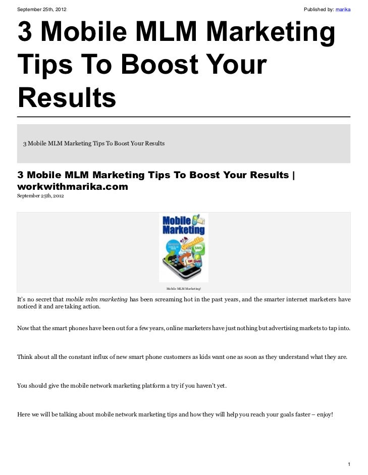 3 Mobile MLM Marketing Tips To Boost Your Results