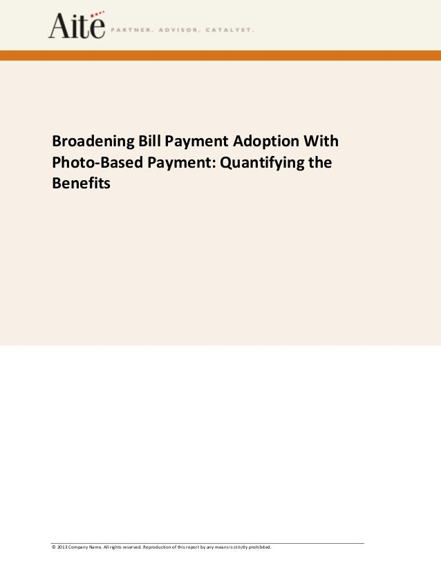 Broadening Bill Payment Adoption With Photo-Based Payment: Quantifying the Benefits