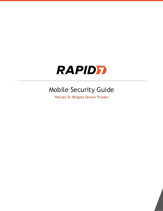 Mobile Security Guide Policies To Mitigate Device Threats