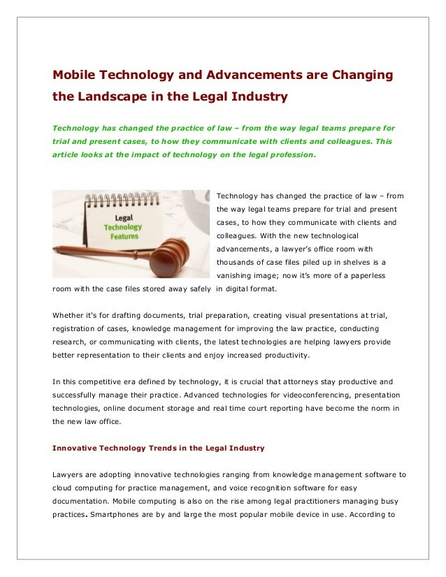 Mobile Technology and Advancements Are Changing The Landscape In The Legal Industry