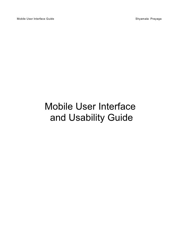 Mobile UI and Usability Guidelines V1
