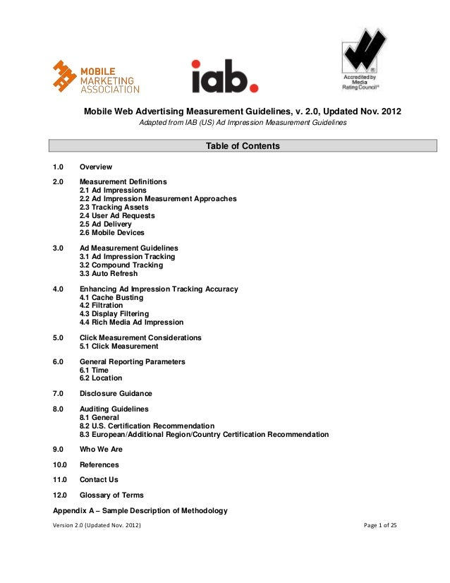 Mobile Web Advertising Measurement Guidelines, v. 2.0, Updated Nov. 2012                              Adapted from IAB (US...