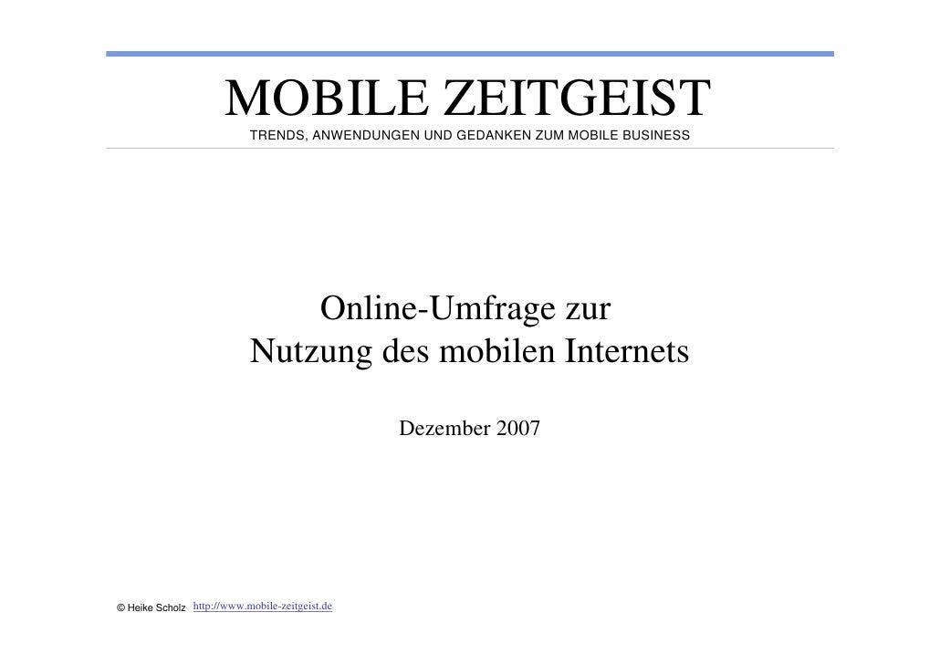 MOBILE ZEITGEIST                            TRENDS, ANWENDUNGEN UND GEDANKEN ZUM MOBILE BUSINESS                          ...