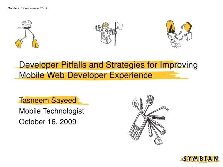 Developer Pitfalls & Strategies for Improving Mobile Web Developer Experience