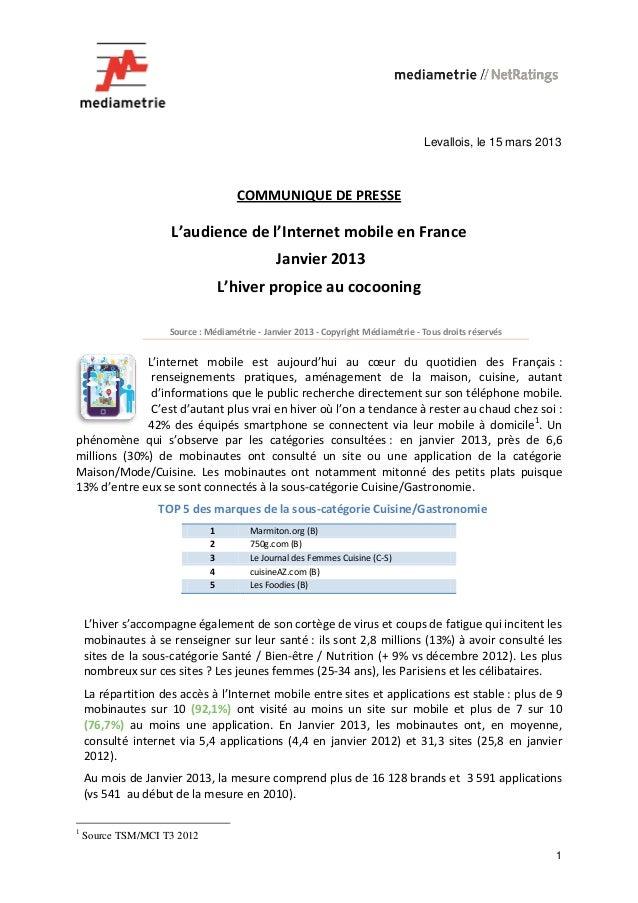 Levallois, le 15 mars 2013                                     COMMUNIQUE DE PRESSE                     L'audience de l'In...