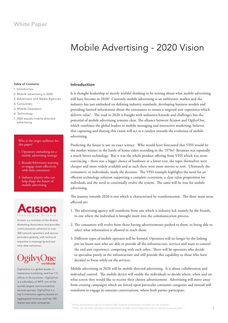 Mobile Advertising 2020 Vision