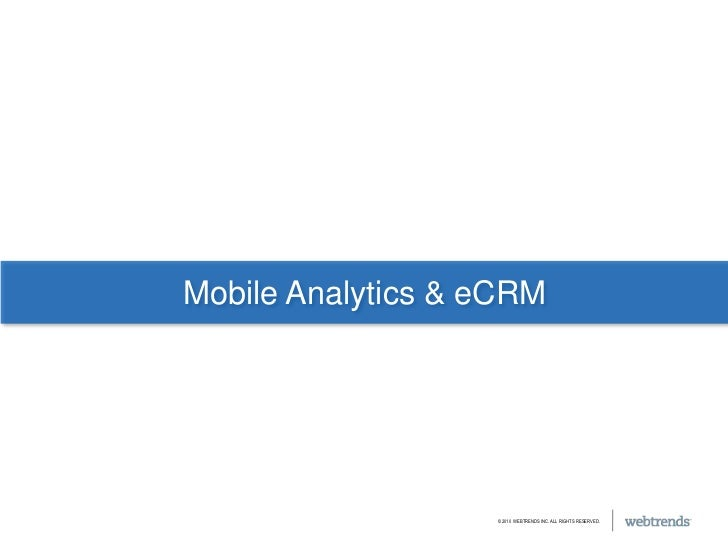Mobile Analytics & eCRM<br />