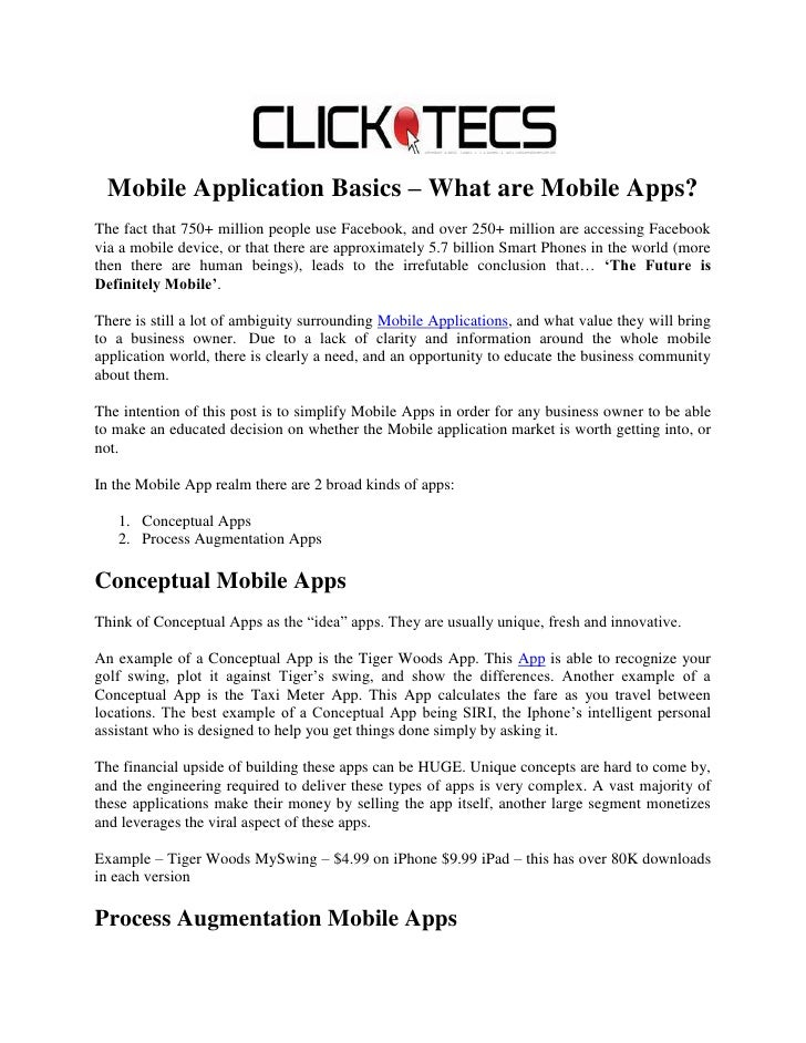Mobile application basics  clicktecs