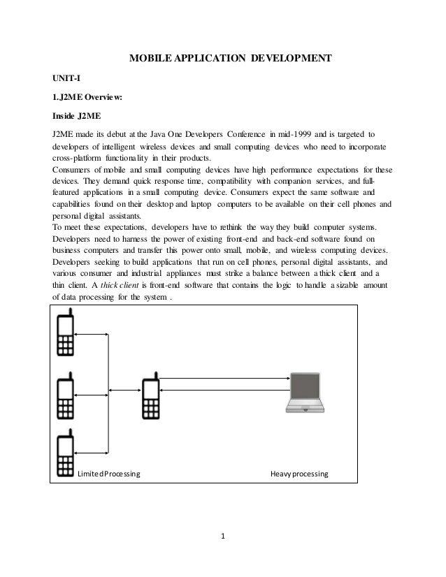 1 MOBILE APPLICATION DEVELOPMENT UNIT-I 1.J2ME Overview: Inside J2ME J2ME made its debut at the Java One Developers Confer...