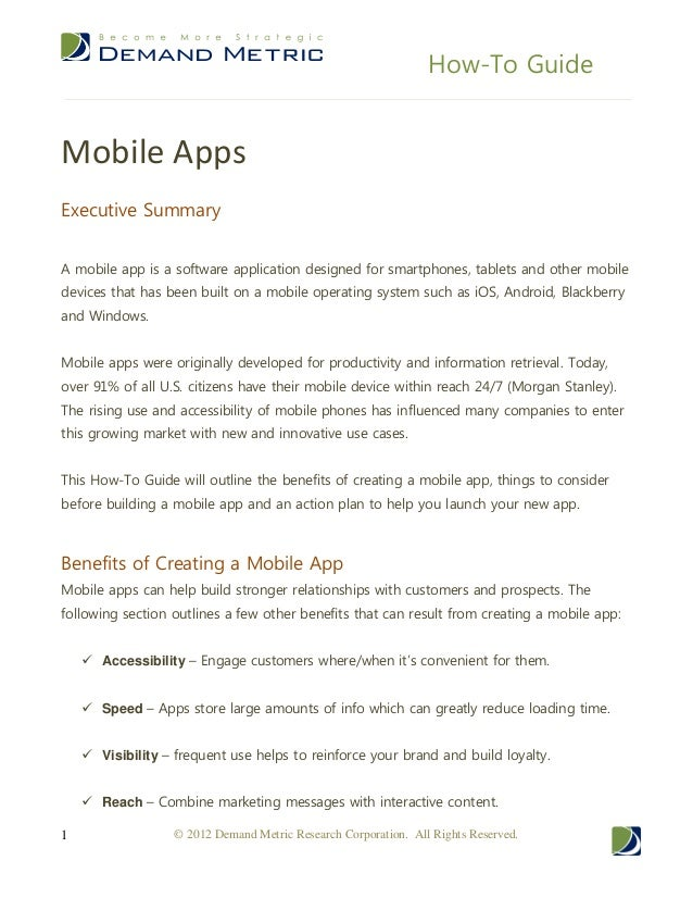 How-To GuideMobile AppsExecutive SummaryA mobile app is a software application designed for smartphones, tablets and other...