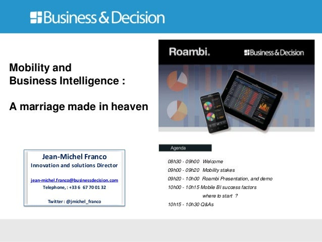 Jean-Michel FrancoInnovation and solutions Directorjean-michel.franco@businessdecision.comTelephone, : +33 6 67 70 01 32Tw...