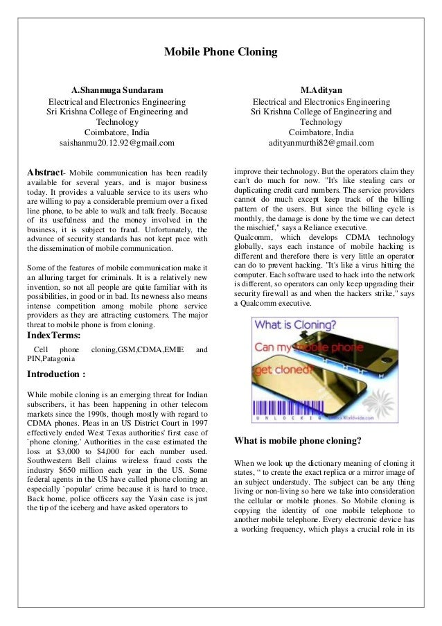 Mobile cloning paper