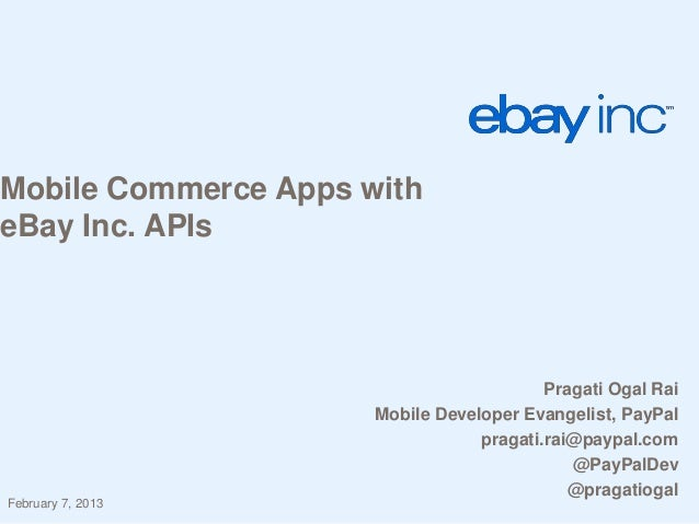 Mobile commerce apps with eBay Inc APIs