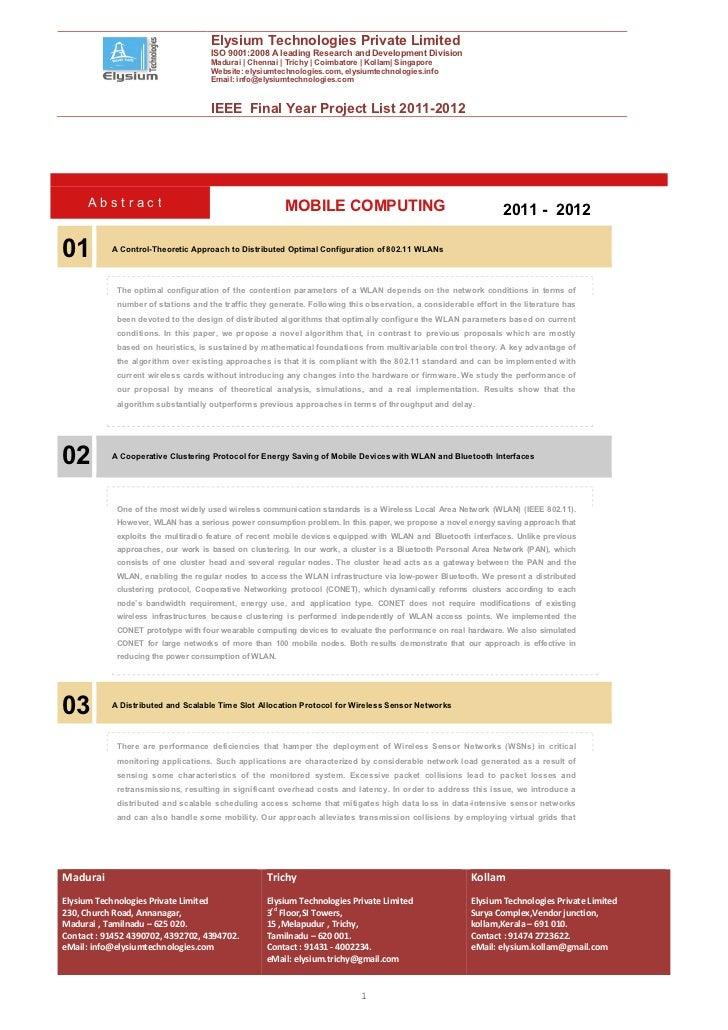 IEEE Final Year Projects 2011-2012 :: Elysium Technologies Pvt Ltd::Mobilecomputingnew