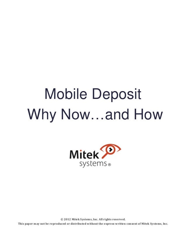 Mobile Deposit: Why Now...And How