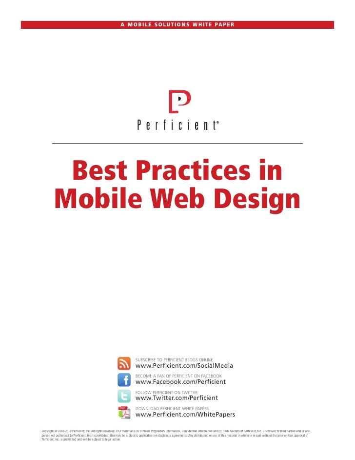 A M O B I L E S O L U T I O N S W H I T E PA P E R          Best Practices in         Mobile Web Design                   ...