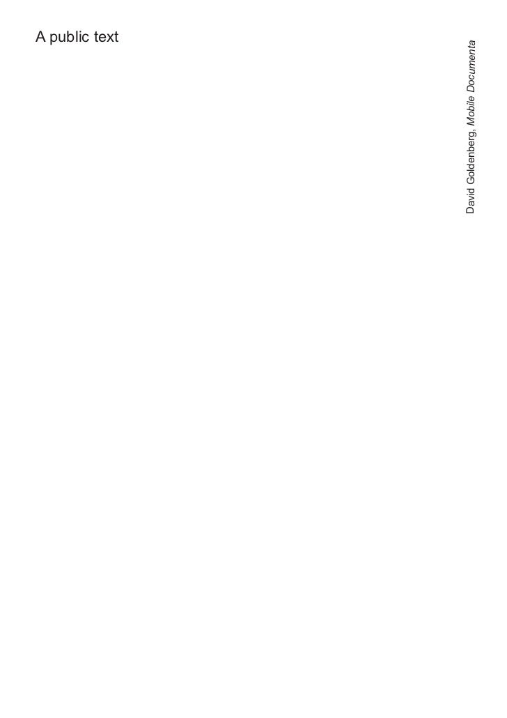 A public textDavid Goldenberg, Mobile Documenta