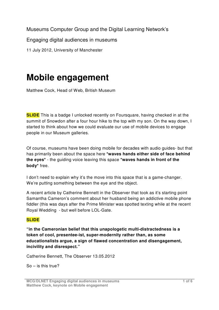 Mobile Engagement Speakers notes
