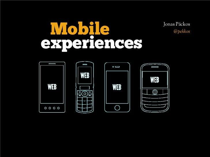 Jonas Päckos Mobile           @pekkosexperiences