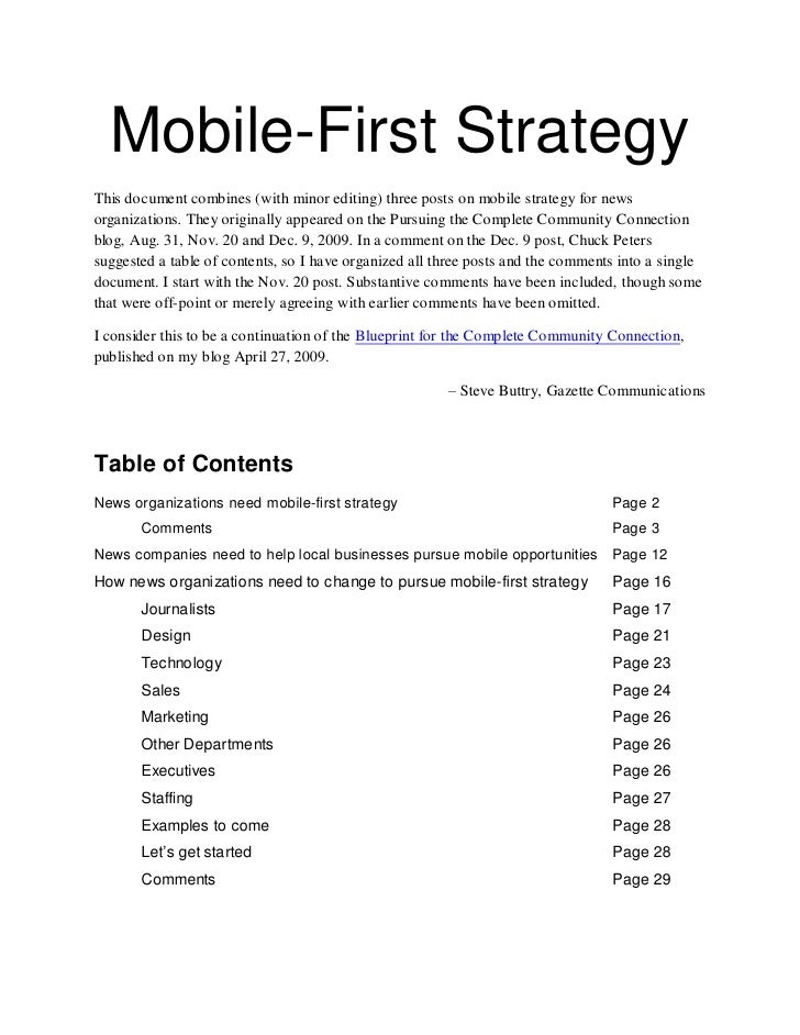 Mobile-First Strategy This document combines (with minor editing) three posts on mobile strategy for news organizations. T...