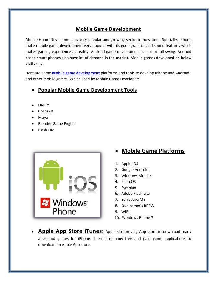 Mobile Game DevelopmentMobile Game Development is very popular and growing sector in now time. Specially, iPhonemake mobil...
