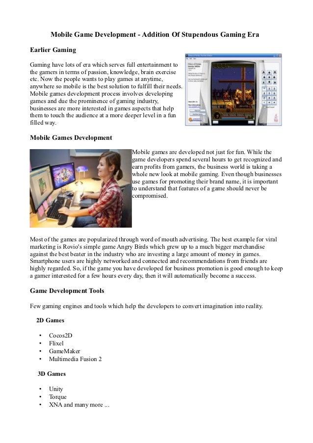 Mobile Game Development - Addition Of Stupendous Gaming Era