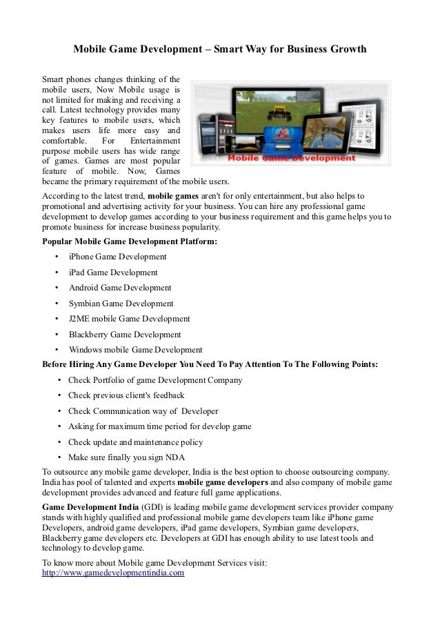 Mobile Game Development – Smart Way for Business GrowthSmart phones changes thinking of themobile users, Now Mobile usage ...