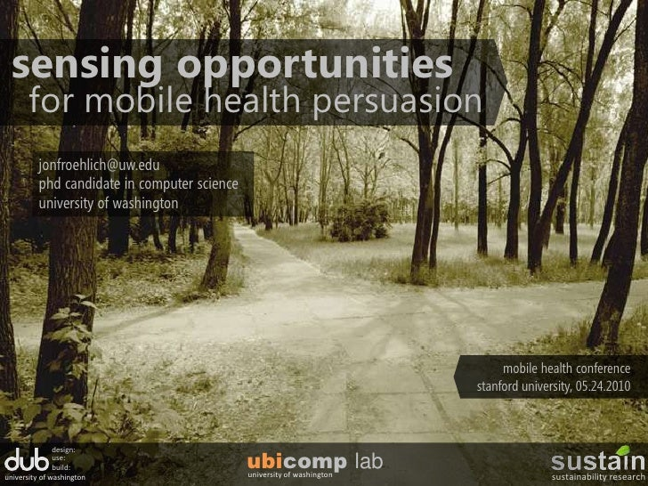 Sensing Opportunities and Zero Effort Applications for Mobile Health Persuasion