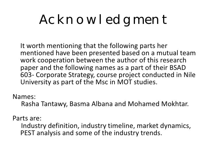 Acknowledgement page