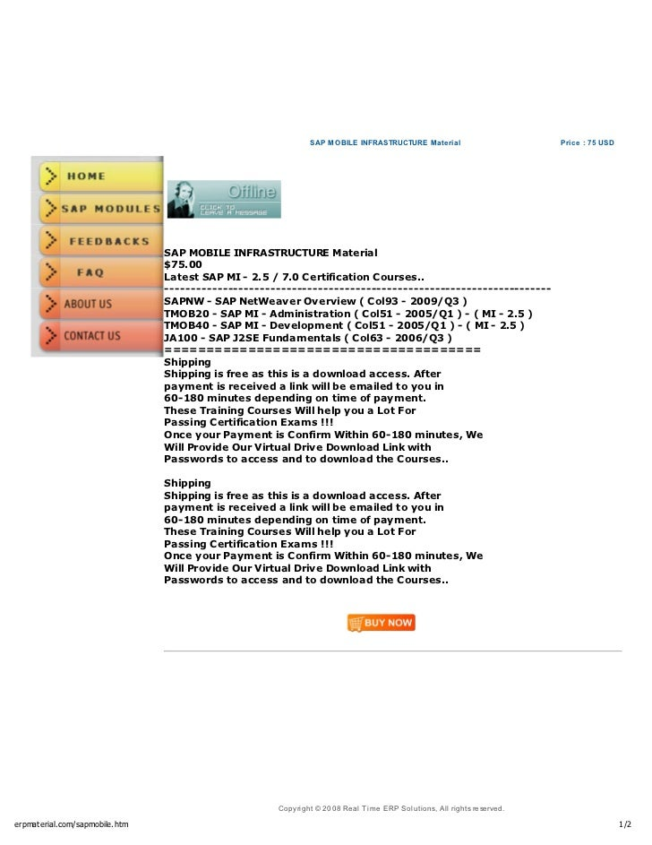 Sap Mobile Infrastructure Material