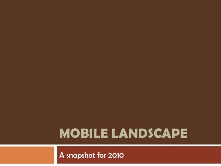 Mobile landscape<br />A snapshot for 2010<br />