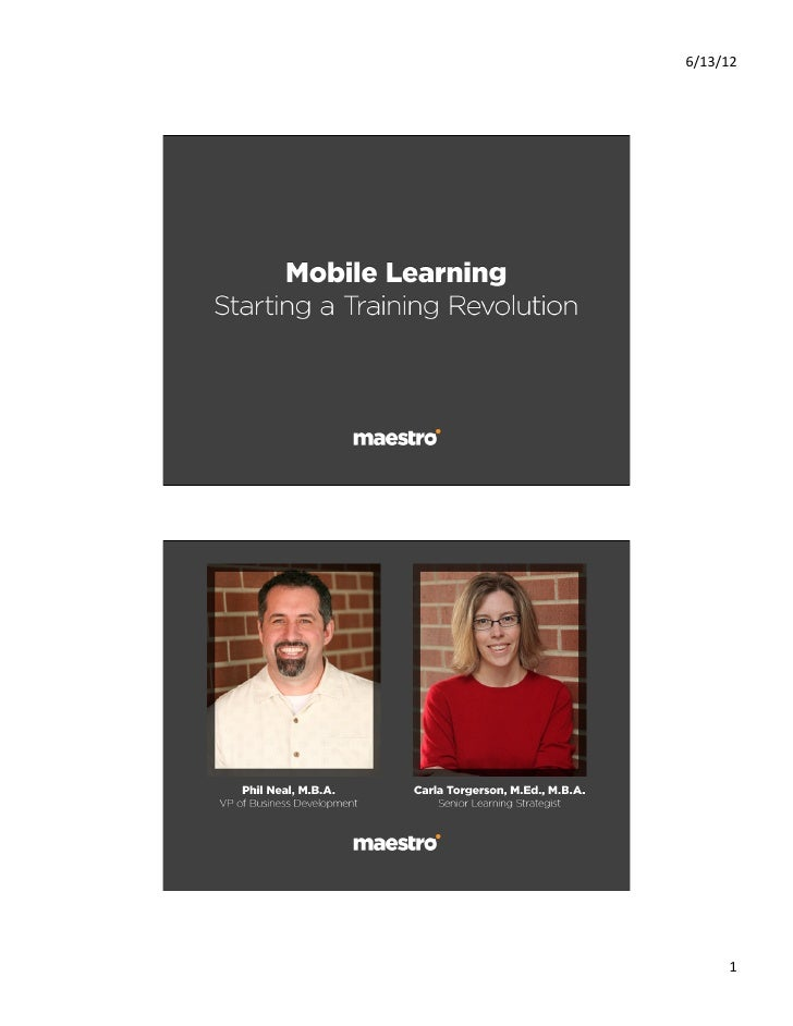 Mobile learning starting a training revolution