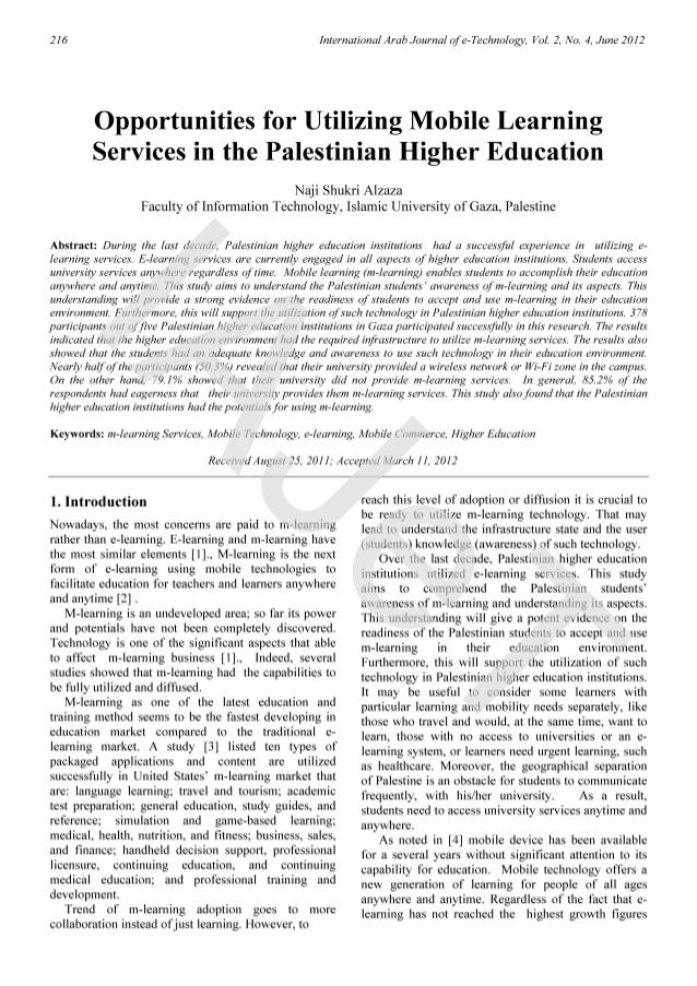 Mobile learning services in the palestinian higher education