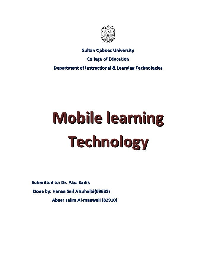 Sultan Qaboos University                           College of Education           Department of Instructional & Learning T...