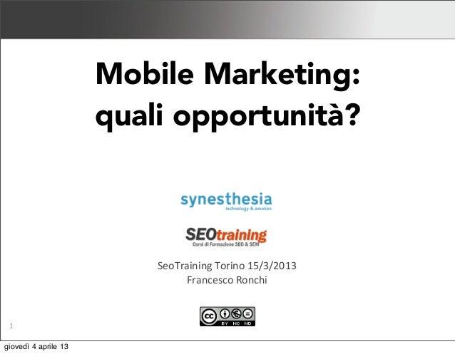Mobile marketing - Italia 2013