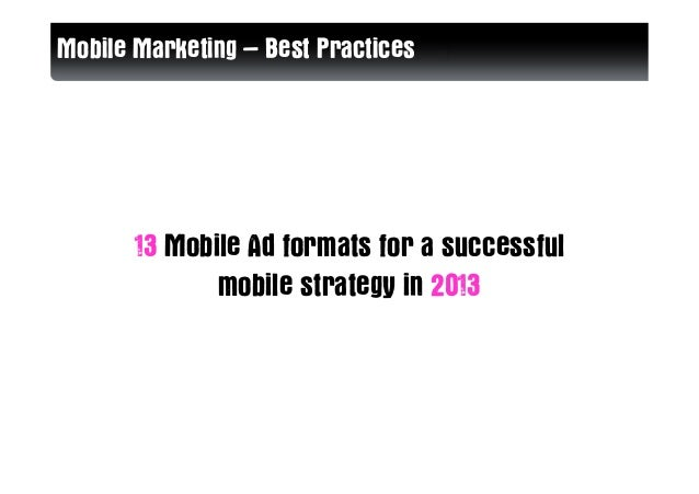 13 Mobile Ad formats for a successful  mobile strategy in 2013