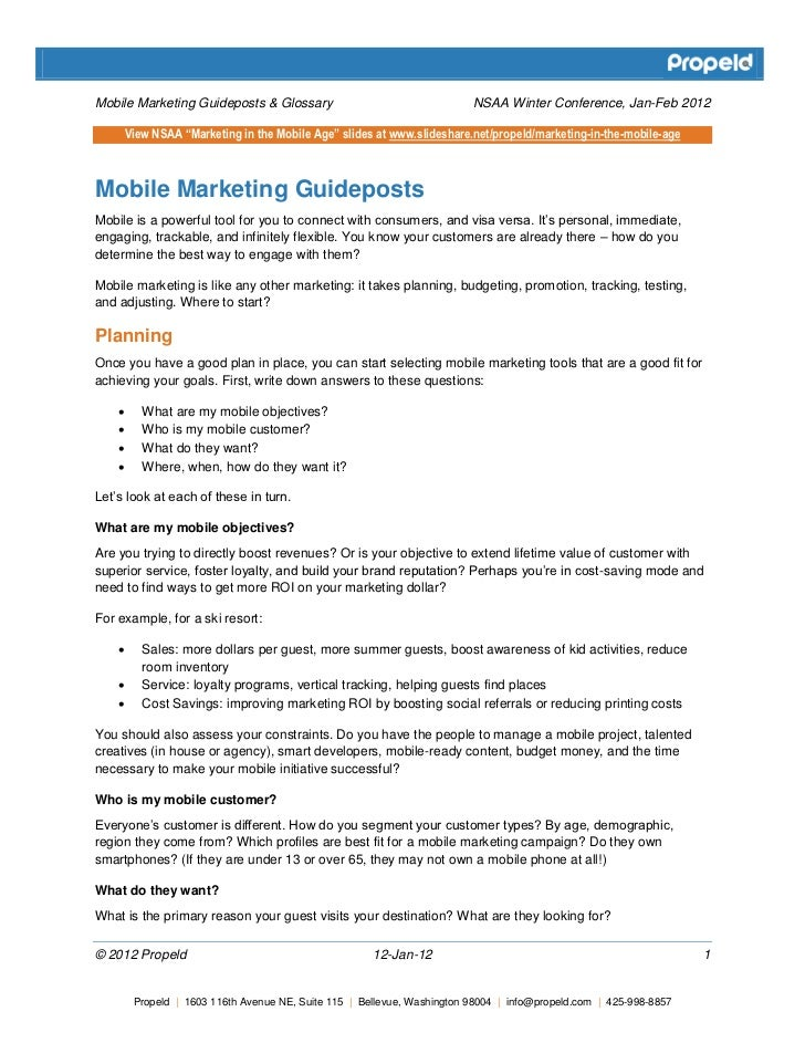 Mobile Marketing Guideposts and Glossary