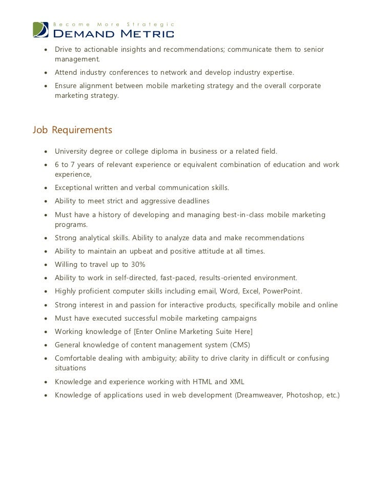 Mobile marketing manager job description - Chief marketing officer job description ...