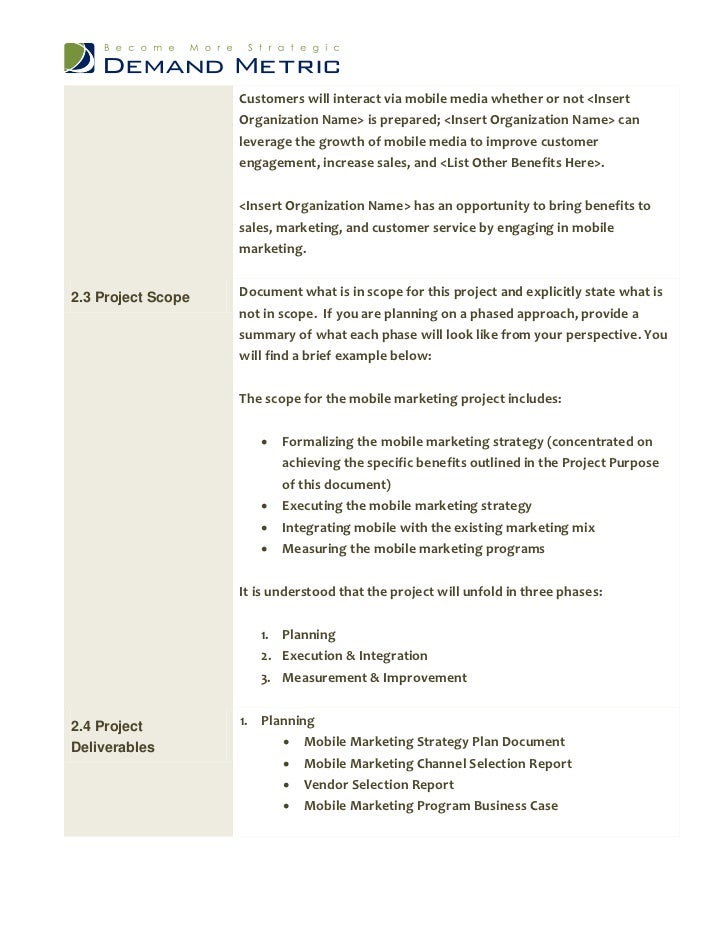 customer care charter template - mobile marketing project charter
