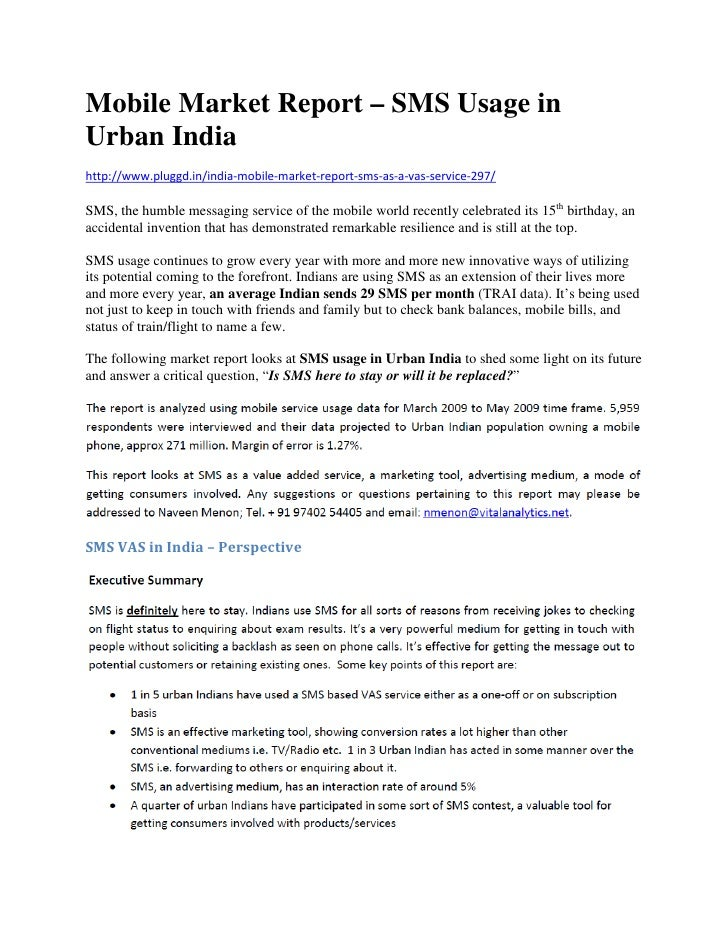 Mobile Market Report   SMS Usage In Urban India